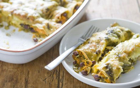 since we probably all eat an unusual amount of beans.....sweet potato & black bean enchiladas! i made a variation as a quesadilla  with some cheese & avocado. yum!