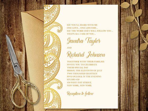 Gold Wedding Invitation Quot Paisley Quot Printable Wedding Invitat Wedding Invitations Printable Templates Gold Wedding Invitations Wedding Invitations Diy