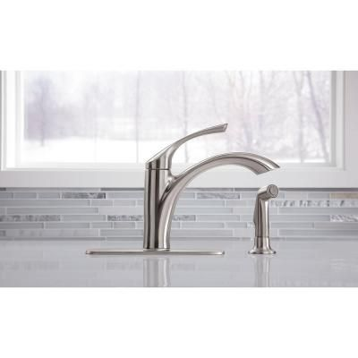 KOHLER Mistos Single-Handle Standard Kitchen Faucet with Side Sprayer in Stainless Steel - K-R72508-VS - The Home Depot