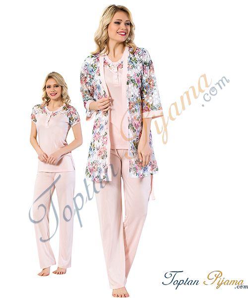 Toptan Bayan 3 Lu Sabahlikli Pijama Takimi 2329 Giyim Kadin Olmak Pijama