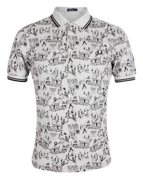 Fred Perry Margate on the Run Weekend Print Polo Shirt.