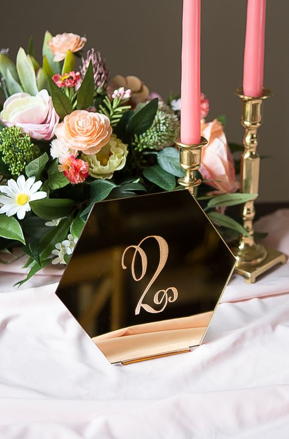 Geometric Hexagon Wedding Table Numbers in Gold Mirror \\ Handmade Wedding Decor & Gifts by www.ZCreateDesign.com or ZCreateDesign on Etsy - The Wedding Geniuses!!! #wedding #tablenumbers #goldmirror #hexagon #geometric