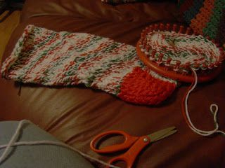 Christmas Stocking Loom Knitting Pattern : Round Loom Christmas Stocking Yarn Crafts - Christmas ...