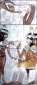 A servant offers wine to a guest, from the tomb of Nebamen