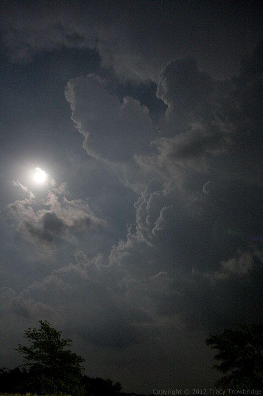 Moonlit thunderstorm updraft