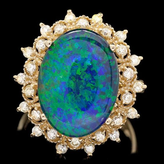 14k Yellow Gold 5.00ct Opal 0.50ct Diamond Ring : Lot 55C