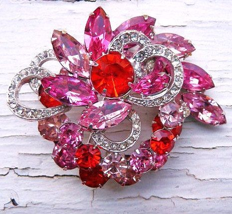 Vintage Eisenberg pin brooch RARE colors by cherrylippedroses, $225.00