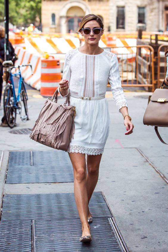 Olivia Palermo | summery white dress, Carolina Herrera tan fringe Gaspar bag | Harpers Bazaar