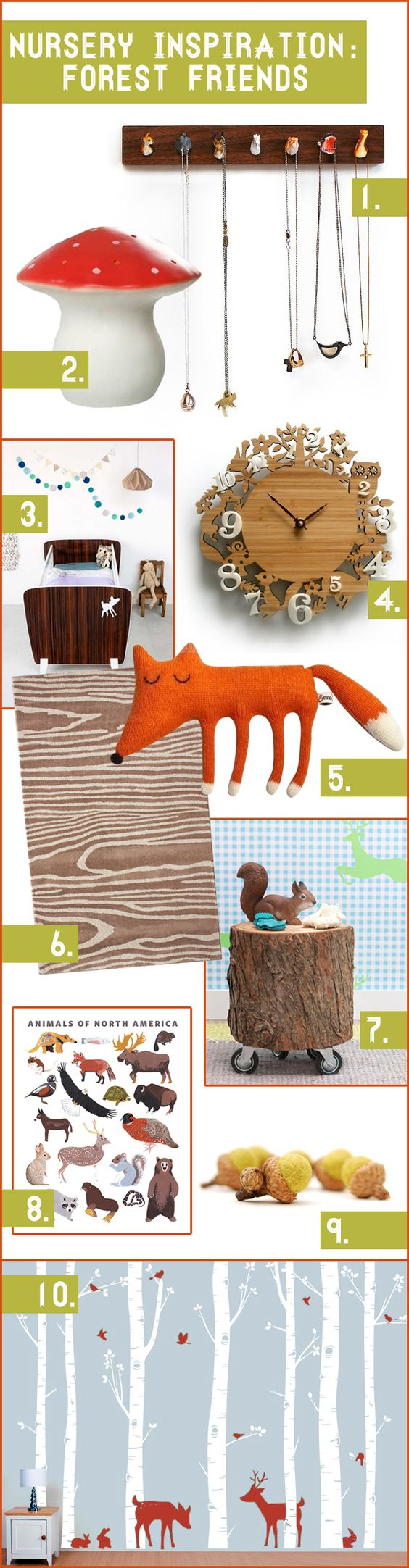 Woodland nursery inspiration : Forest Friends... kind of love that little log foot stool thing