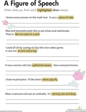Worksheets Figures Of Speech Worksheet figures of speech worksheet kids use context clues to learn the meanings mon idioms on this third grade reading