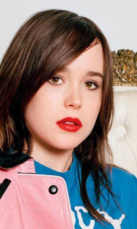 Ellen Page Actress Beautiful Red Lips 480x800 Wallpaper