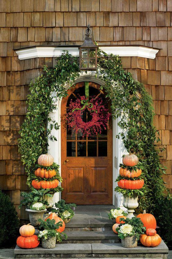 Pumpkins for Fall : Front Door Decorating