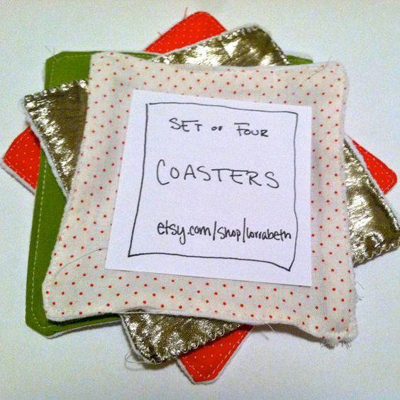 set of four coasters in red gold white and green by lorrabeth, $8.00