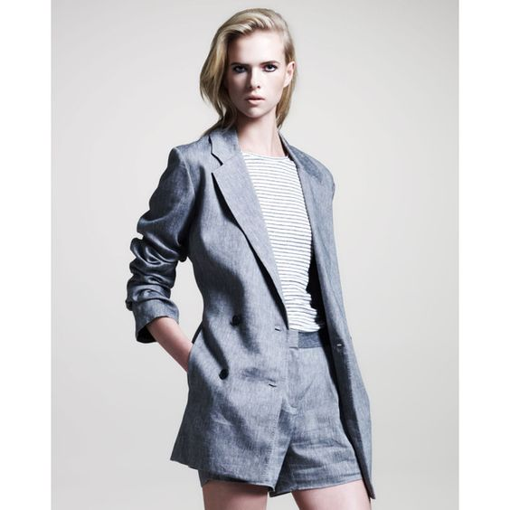 T by Alexander Wang Double-Breasted Linen Blazer ($465) ❤ liked on Polyvore