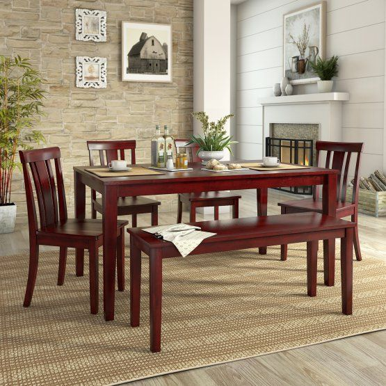 Weston Home Lexington 6 Piece Dining Set With Bench And Slat Back