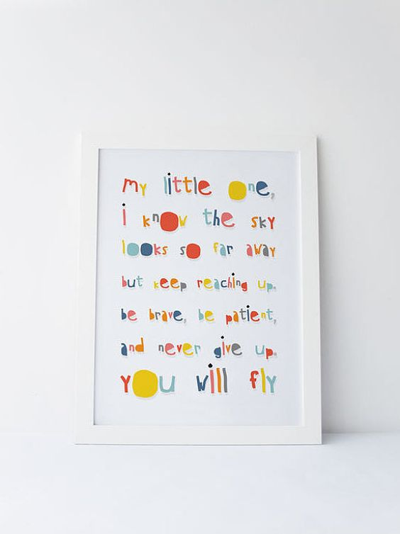 Cute Dinky Mix blue multicolour I know the sky looks far away, but keep reaching up, be brave, be patient and never give up. you will fly quote by DinkyMix typography design nursery wall art for bedroom or playroom