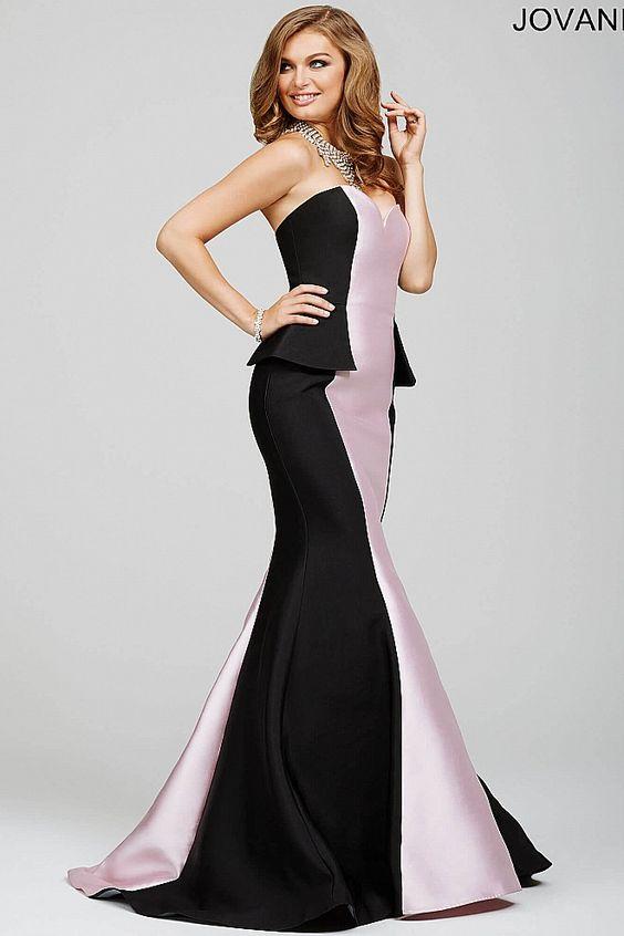Black/Pink Strapless Peplum Prom Dress 23492