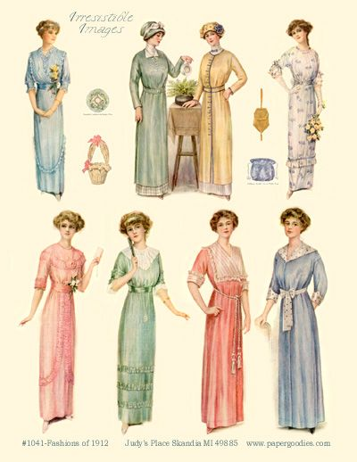 1912 Fashion Plate The Clothing Worn In The Days Of The