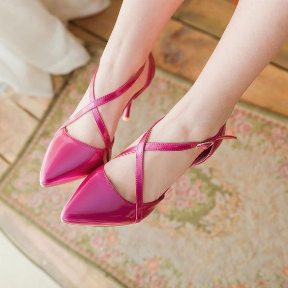 Ladies Us Size Womens Pointy Toe Heel Wedding Cross Strap Party Pumps Stilettos