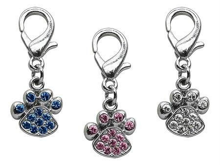 Lobster Claw Paw Charms in Blue,Pink and Clear