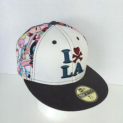 Tokidoki-I-Love-LA-Hat-New-Era-59Fifty-Fitted-7-1-4-Grey-amp-White-W-Black-Lining