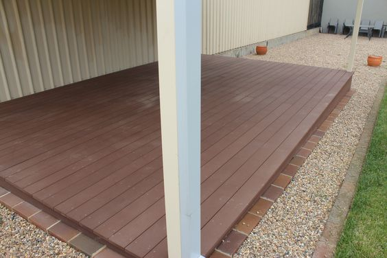 Composite decking boards over Boxspan steel deck frame. This deck is on display the the Spantec display centre near Mittagong NSW- Boxspan Steel Framing Supplies are manufactured within our factory at this location.