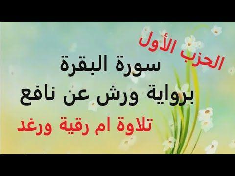 قراءة الحزب 1 سورة البقرة تلاوة أم رقية ورغد Youtube Arabic Calligraphy Calligraphy