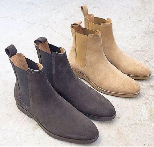 Men,s Grey Beige Suede Chelsea Boots