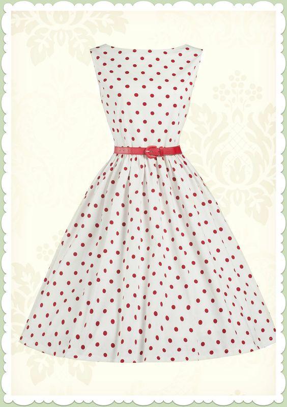 Lindy Bop 50er Jahre Rockabilly Petticoat Punkte Kleid - Audrey - Weiß