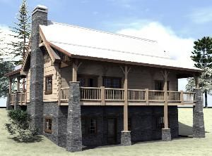 Simple walk out basement house plans plan 16900 for Log cabin with walkout basement