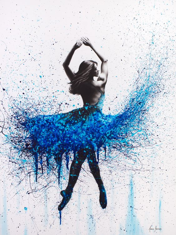 """Moonlight Sonata"" by Ashvin Harrison. Paintings for Sale. Bluethumb - Online Art Gallery #ashvinharrison #art #abstract #streetart #ballerina #dancer #blue #woman #dancing #print #fashion"