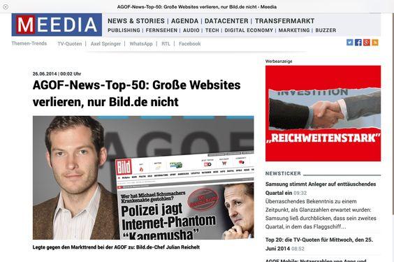 Außer Bild.de verlieren alle großen Nachrichtenportale. Mehr dazu im #MedienMagazin: http://flip.it/IghAp  #AGOF #Newssites #Bild