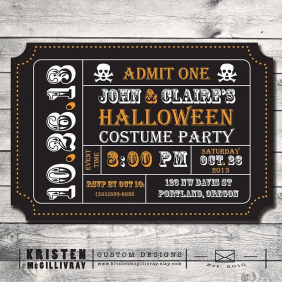 Halloween Party Invitation, Ticket Invitation, Invitation