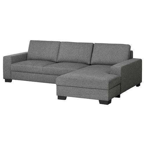 Sorvallen 3er Sofa Mit Recamiere Rechts Lejde Grau Schwarz