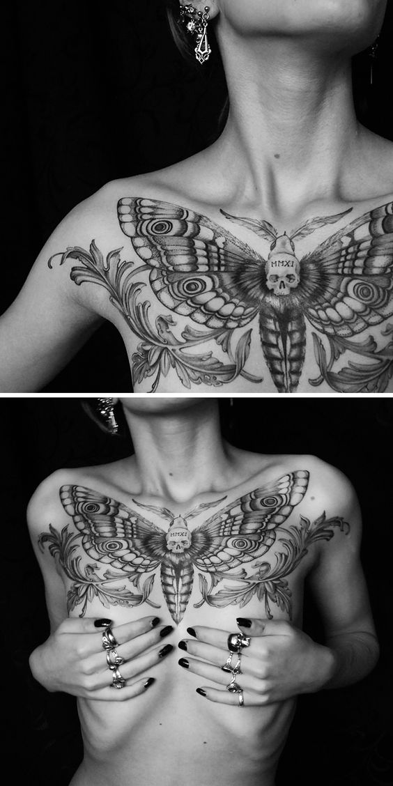 Body Art | Tattoo | 刺青 | Tatouage | Tatuaggio | татуировка | Tatuaje | Deaths head Moth chest tattoo