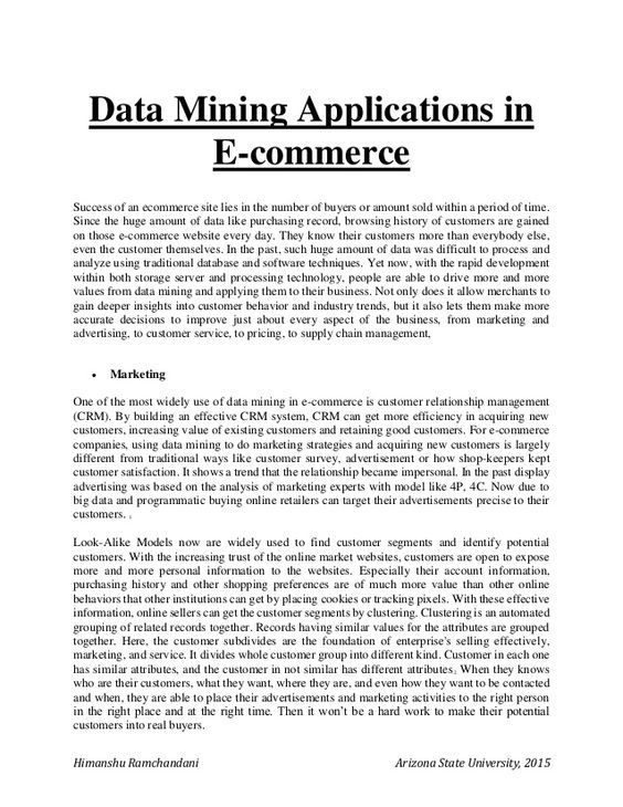 Himanshu Ramchandani Arizona State University, 2015 Data Mining - agreement letter between two parties for payment
