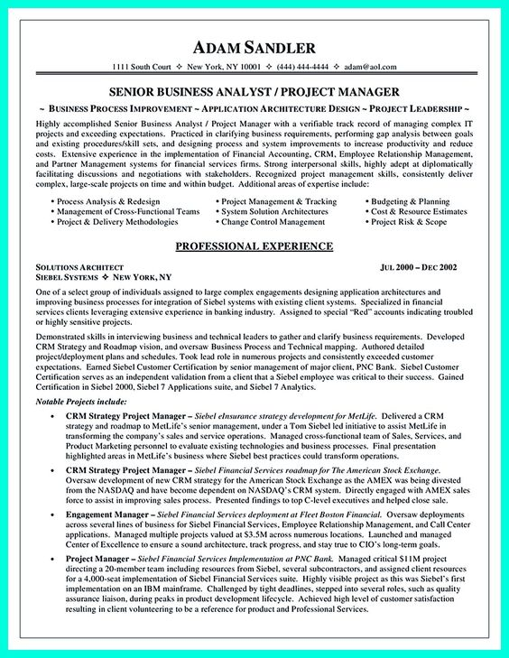 12 Best Business Analyst Resume Sample Business Manager - system analyst resume