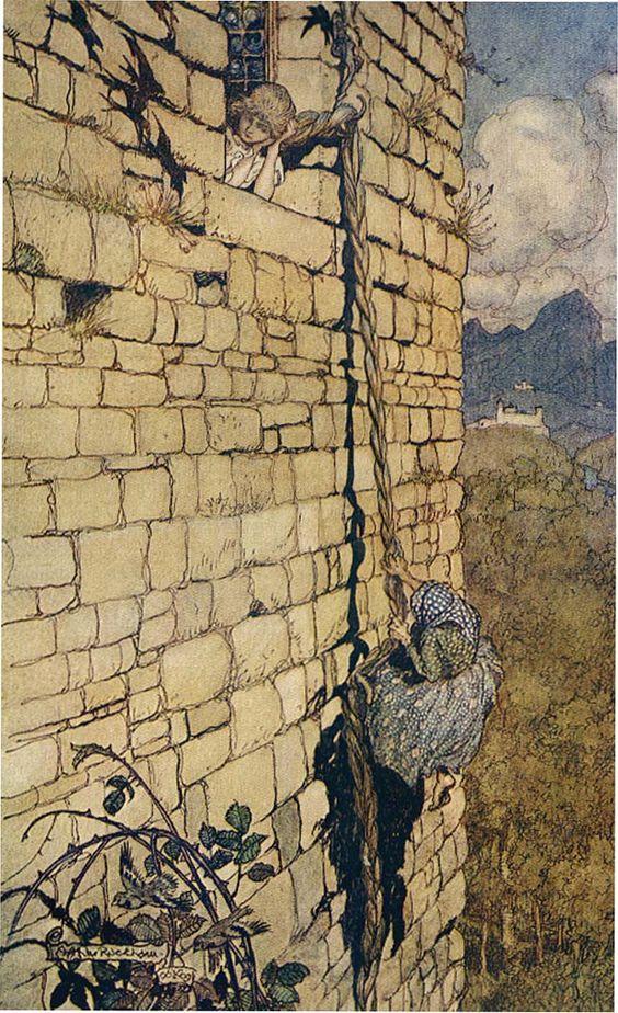 Fairy tale illustrations rapunzel