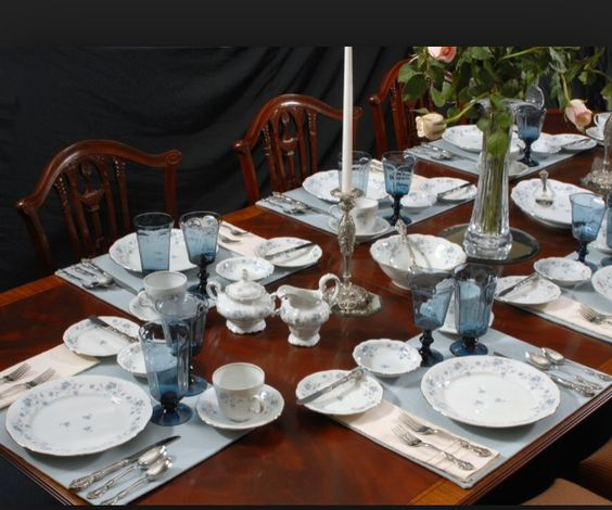 Blue Garland China with Lenox Antique Dark Blue Glassware...my dream tableware!