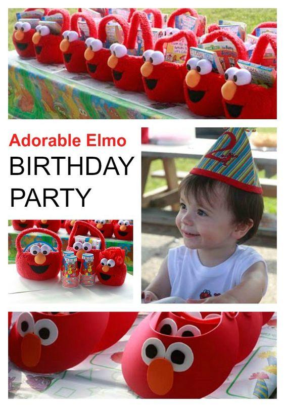 Adorable Elmo birthday party - perfect mix of handmade and store bought. The favors were Elmo Easter baskets! #sesamestreet #elmo #birthdayparty #diy: Elmo Birthday Parties, Elmo Birthday Decoration, Elmo Birthday Party Ideas, Elmo Decoration, Elmo Birthday Ideas, Birthday Elmo, Elmo Birthdayparty, Baskets Sesamestreet