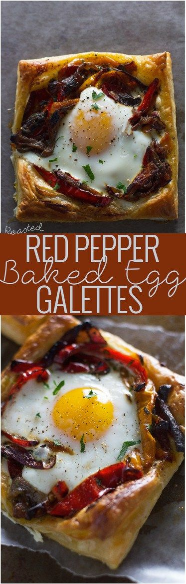 Roasted Red Pepper & Baked Egg Galettes | Recipe | Baked Eggs, Roasted ...