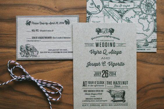 Kraft Letterpress Invitation: Rustic Urban Country Wedding Invitation