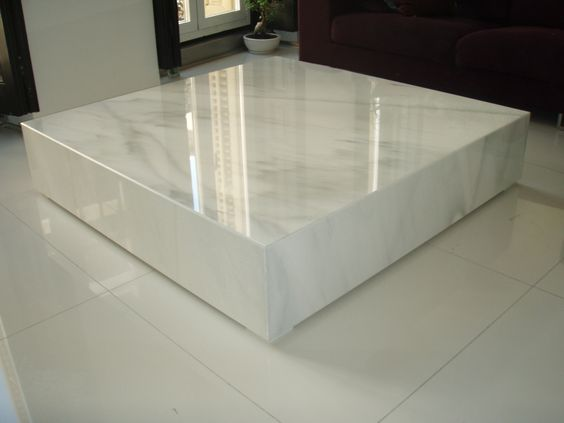 mesa de marmol blanco macael pulido
