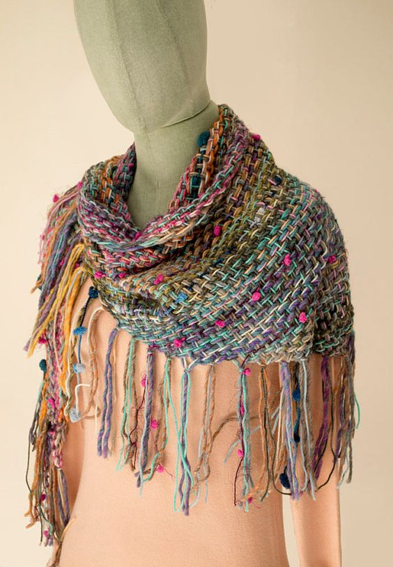 Triangle Wrap Shawl Colorful Scarf Fringe Shawl by BandraWest