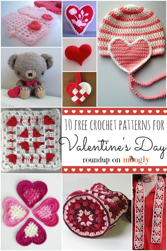 10 Free Crochet Patterns for Valentines Day. These are so cute!: