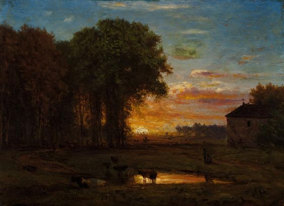Late Sunset George Inness (1857) Painting - oil on board