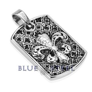PIN IT TO WIN IT! Lily Love: This design is a stylized lily (in French, fleur means flower, and lis means lily) or iris that is used as a decorative design, it gives an added beauty to your neckline. Beautiful skin deserves a beautiful accessory to add into the completeness.This Stainless Steel Medieval Fleur De Lis cast dog tag pendant defines beauty.    $39.99  www.buybluesteel.com