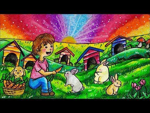 Cara Menggambar Anak Perempuan Dan Kelinci Pemandangan Taman Youtube Phong Cảnh