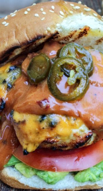 Jalapeno Cheddar Chicken Burgers with Chipotle Barbecue Aioli