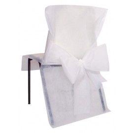 10 Housses de chaise avec nœud  Nous disposons d'une large gamme de housses de chaise avec noeud, composée de couleurs variées, nos housses s'harmoniseront parfaitement à votre décoration.  Matière : Tissu non tissé polyester  Dimensions :50 x 95 cm
